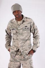 Black military man looking at the camera