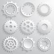 Gear wheels icon set. Nine 3d gears on a gray background - 69495359