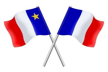 Drapeaux: Acadie et France