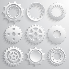 Gear wheels icon set. Nine 3d gears on a gray background