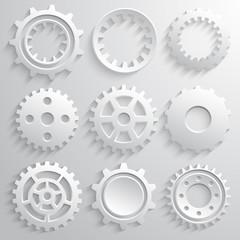 Gear wheels icon set. Nine 3d gears on a gray background