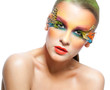 canvas print picture - Woman with false feather eyelashes makeup