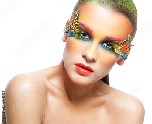 canvas print picture Woman with false feather eyelashes makeup