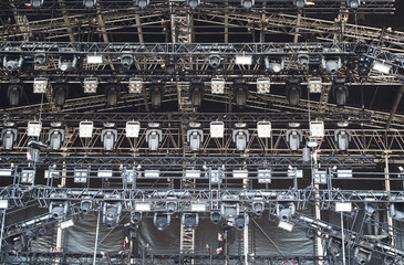 illuminated open air concert stage
