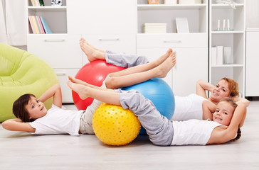 Abdominal workout - woman with kids