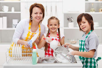 Kids helping their mother in the kitchen