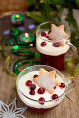 Christmas dessert in a glass with decoration Selective focus
