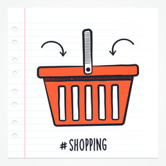 Vector doodle shopping basket icon illustration with color