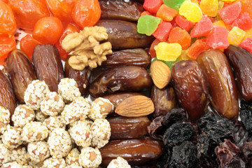 The background of fruits and nuts.