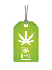 Label with a hemp leaf