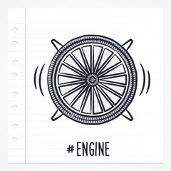 Vector doodle jet engine icon illustration with color