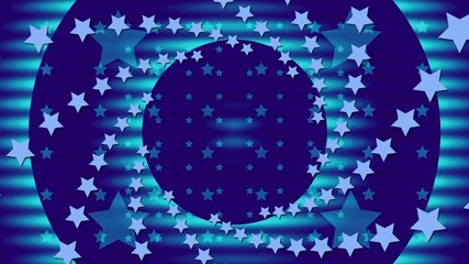 wave motion blue circles with rotating stars, loop