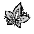 Original Decorative Leaf with Ornament (Vector), Patterned desig