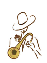 Man with Trumpet. Vector Portrait of a Latino Music Player