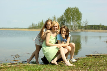 Happy mother with her daughters