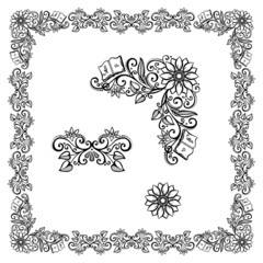 Decorative Floral Frame, Ornament (Vector). Decorative Corner