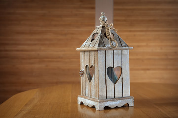 wooden candlestick with heart shape