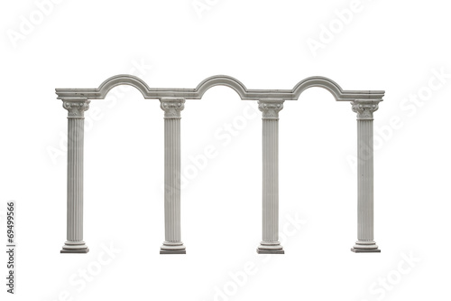 Roman columns gate isolated on white with Clipping Path - 69499566