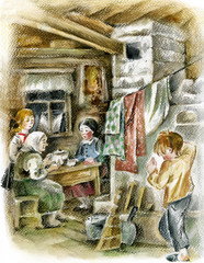 Family in peasant interior with stove