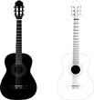 classic guitar black & white vectorized illustration - 69499956