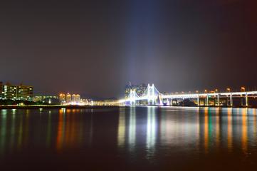 Diamond bridge at night in Busan City, South Korea