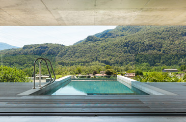 modern house in cement, pool