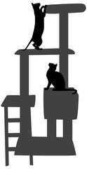 Kratzbaum mit Katzen