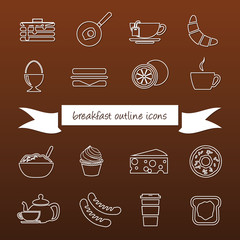 breakfast outline icons