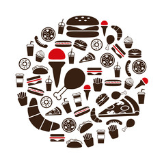 fast food icons in circle
