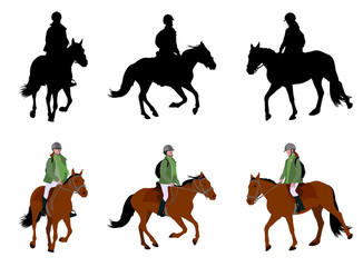 riding a horse - silhouettes and illustration - vector
