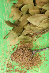 Bay leaves and seeds on green wooden background