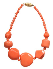 orange necklace isolated on white