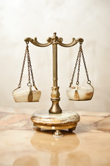 Old golden scale. Vintage balance scales. Scales balance
