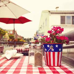 Restaurant table in street in San Francisco. Retro