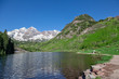 Maroon Bells and Lake in Summer