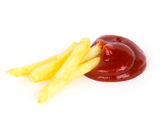 Pile of french fries with ketchup