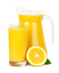 Fresh orange juice in pitcher