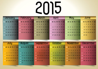 Colorful 2015 Calendar