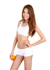 Young woman with orange isolated on white