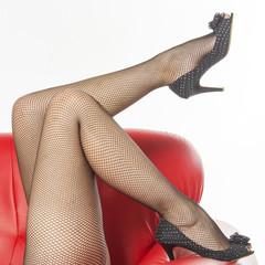 Woman's legs in black fishnet tights
