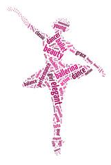 Words illustration of a ballet dancer in white background