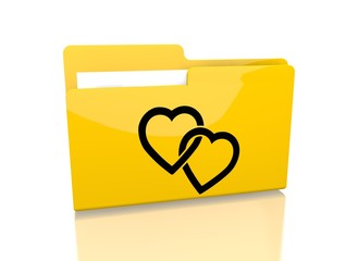 file folder with two hearts symbol