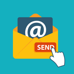 Flat Design Concept Email Send Icon Vector Illustration