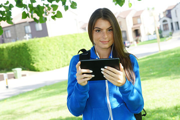 Young student using tablet