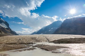 Melting Athabasca Glacier Jasper Canada