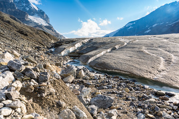 Athabasca Glacier with melt water canada