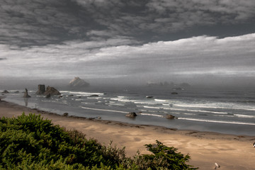 Oregon Beach on a Stormy Morning