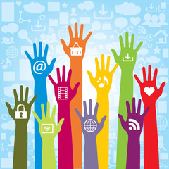 Communication and icons of social media and hand