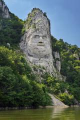 Decebalus statue on Danube river
