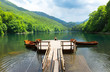 Old pier on mountain lake